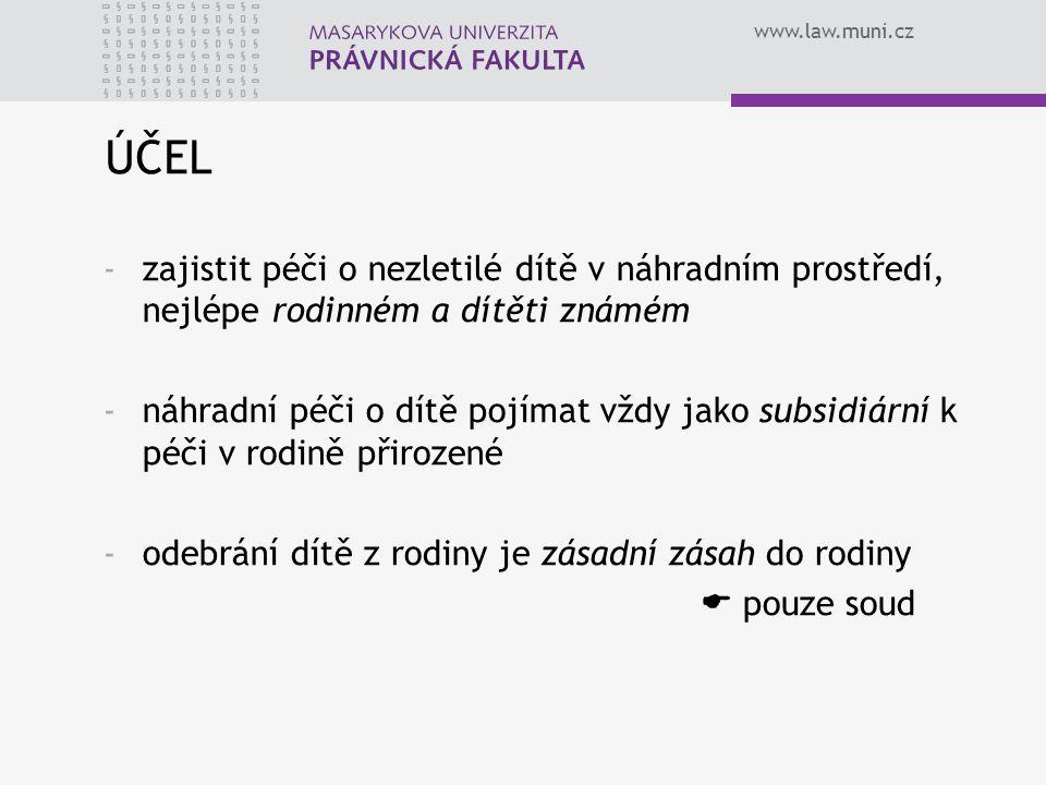 www.law.muni.cz ÚČEL -zajistit péči o nezletilé dítě v náhradním prostředí, nejlépe rodinném a dítěti známém -náhradní péči o dítě pojímat vždy jako s