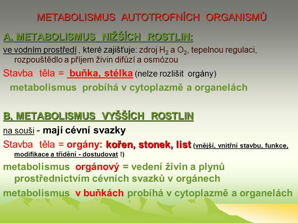METABOLISMUS AUTOTROFNÍCH ORGANISMŮ A, METABOLISMUS NIŽŠÍCH ROSTLIN: ve vodním prostředí, které zajišťuje: zdroj H 2 a O 2, tepelnou regulaci, rozpouštědlo a příjem živin difůzí a osmózou Stavba těla = buňka, stélka (nelze rozlišit orgány) metabolismus probíhá v cytoplazmě a organelách B, METABOLISMUS VYŠŠÍCH ROSTLIN na souši - mají cévní svazky kořen, stonek, list Stavba těla = orgány: kořen, stonek, list (vnější, vnitřní stavbu, funkce, modifikace a třídění - dostudovat !) metabolismus orgánový = vedení živin a plynů prostřednictvím cévních svazků v orgánech metabolismus v buňkách probíhá v cytoplazmě a organelách