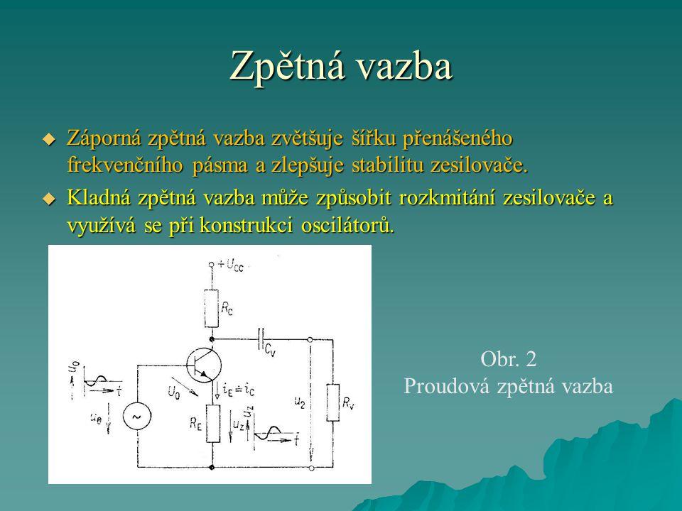 Zpětná vazba  Zpětnovazební napětí u z se vytváří na rezistoru R E, při vynechání kondenzátoru C E.