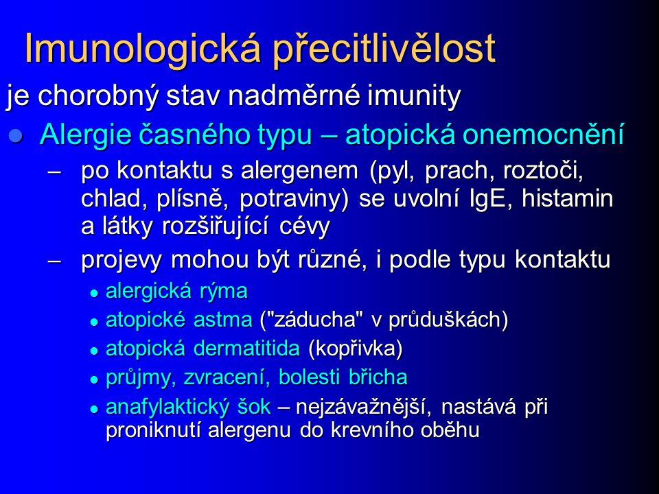 Imunologická přecitlivělost je chorobný stav nadměrné imunity Alergie časného typu – atopická onemocnění Alergie časného typu – atopická onemocnění –