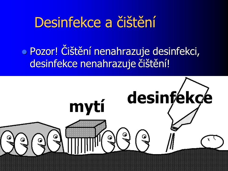 Desinfekce a čištění Pozor.Čištění nenahrazuje desinfekci, desinfekce nenahrazuje čištění.