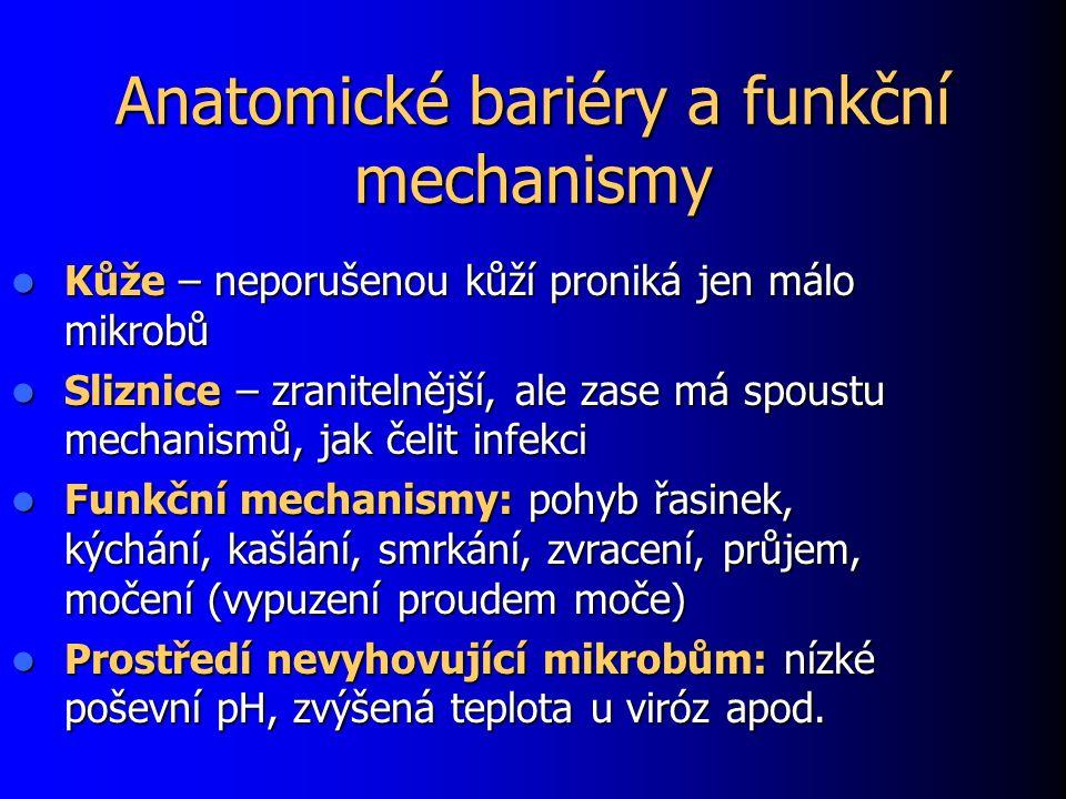 Anatomické bariéry a funkční mechanismy Kůže – neporušenou kůží proniká jen málo mikrobů Kůže – neporušenou kůží proniká jen málo mikrobů Sliznice – zranitelnější, ale zase má spoustu mechanismů, jak čelit infekci Sliznice – zranitelnější, ale zase má spoustu mechanismů, jak čelit infekci Funkční mechanismy: pohyb řasinek, kýchání, kašlání, smrkání, zvracení, průjem, močení (vypuzení proudem moče) Funkční mechanismy: pohyb řasinek, kýchání, kašlání, smrkání, zvracení, průjem, močení (vypuzení proudem moče) Prostředí nevyhovující mikrobům: nízké poševní pH, zvýšená teplota u viróz apod.