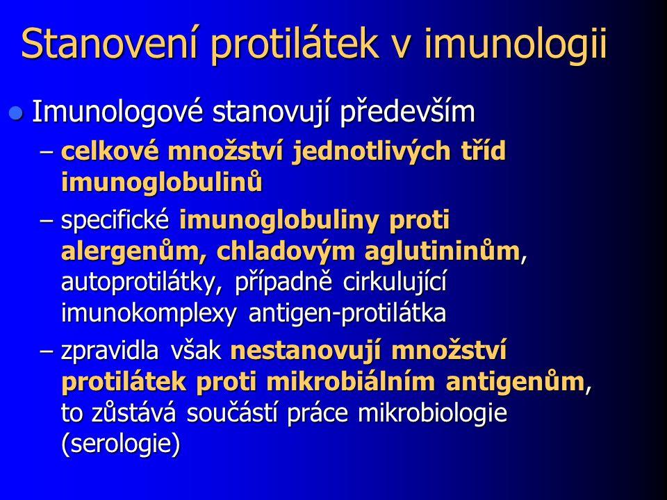 Stanovení protilátek v imunologii Imunologové stanovují především Imunologové stanovují především – celkové množství jednotlivých tříd imunoglobulinů – specifické imunoglobuliny proti alergenům, chladovým aglutininům, autoprotilátky, případně cirkulující imunokomplexy antigen-protilátka – zpravidla však nestanovují množství protilátek proti mikrobiálním antigenům, to zůstává součástí práce mikrobiologie (serologie)