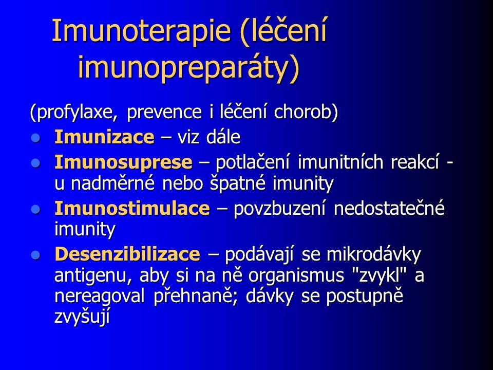 Imunoterapie (léčení imunopreparáty) (profylaxe, prevence i léčení chorob) Imunizace – viz dále Imunizace – viz dále Imunosuprese – potlačení imunitních reakcí - u nadměrné nebo špatné imunity Imunosuprese – potlačení imunitních reakcí - u nadměrné nebo špatné imunity Imunostimulace – povzbuzení nedostatečné imunity Imunostimulace – povzbuzení nedostatečné imunity Desenzibilizace – podávají se mikrodávky antigenu, aby si na ně organismus zvykl a nereagoval přehnaně; dávky se postupně zvyšují Desenzibilizace – podávají se mikrodávky antigenu, aby si na ně organismus zvykl a nereagoval přehnaně; dávky se postupně zvyšují