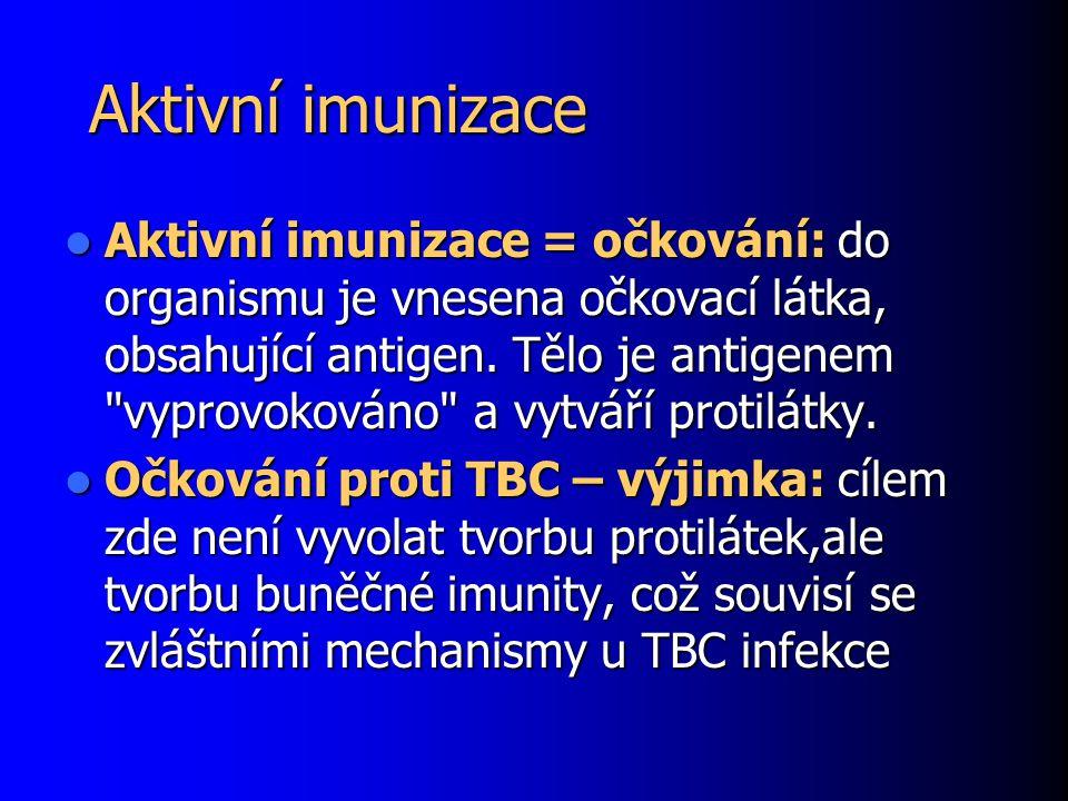 Aktivní imunizace Aktivní imunizace = očkování: do organismu je vnesena očkovací látka, obsahující antigen.