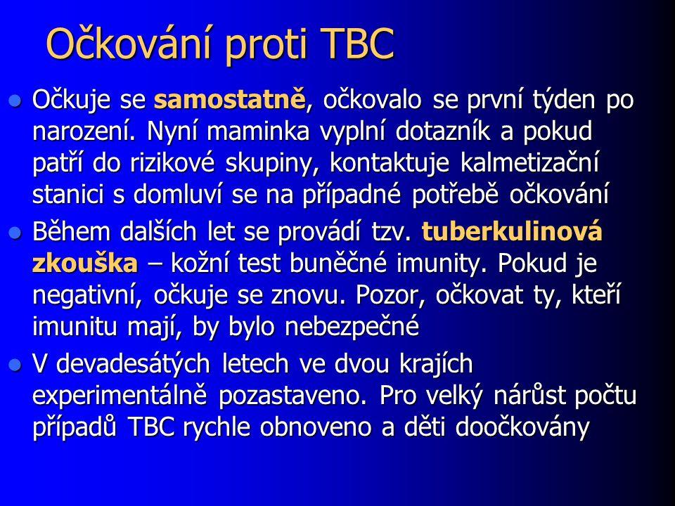 Očkování proti TBC Očkuje se samostatně, očkovalo se první týden po narození.