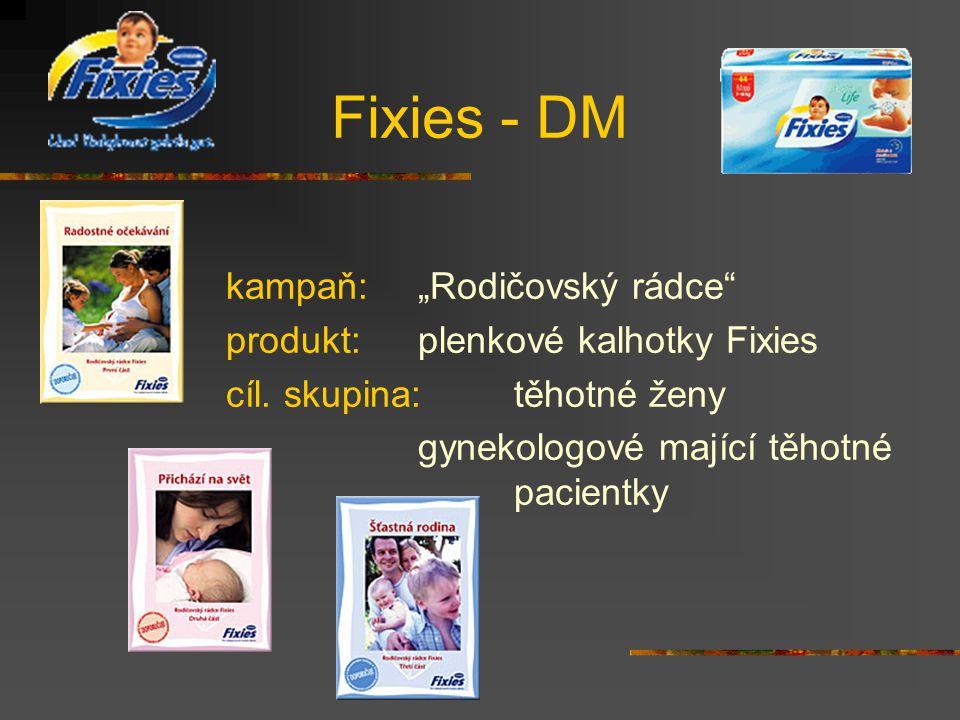 """Fixies - DM kampaň:""""Rodičovský rádce produkt: plenkové kalhotky Fixies cíl."""