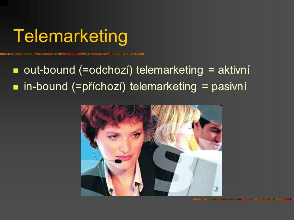 Telemarketing out-bound (=odchozí) telemarketing = aktivní in-bound (=příchozí) telemarketing = pasivní