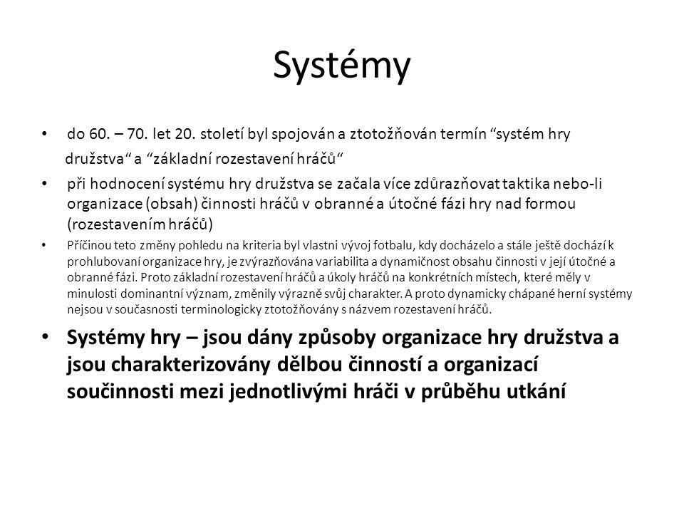 """Systémy do 60. – 70. let 20. století byl spojován a ztotožňován termín """"systém hry družstva"""" a """"základní rozestavení hráčů"""" při hodnocení systému hry"""