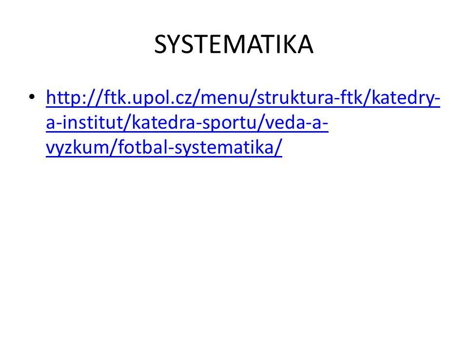 SYSTEMATIKA http://ftk.upol.cz/menu/struktura-ftk/katedry- a-institut/katedra-sportu/veda-a- vyzkum/fotbal-systematika/ http://ftk.upol.cz/menu/struktura-ftk/katedry- a-institut/katedra-sportu/veda-a- vyzkum/fotbal-systematika/