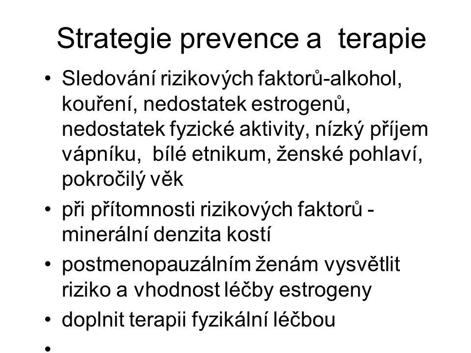 Strategie prevence a terapie Sledování rizikových faktorů-alkohol, kouření, nedostatek estrogenů, nedostatek fyzické aktivity, nízký příjem vápníku, b
