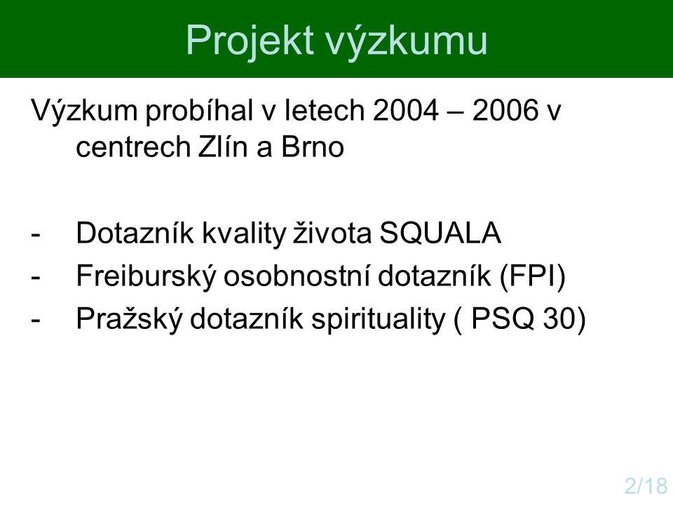 Projekt výzkumu 2/18 Výzkum probíhal v letech 2004 – 2006 v centrech Zlín a Brno -Dotazník kvality života SQUALA -Freiburský osobnostní dotazník (FPI)