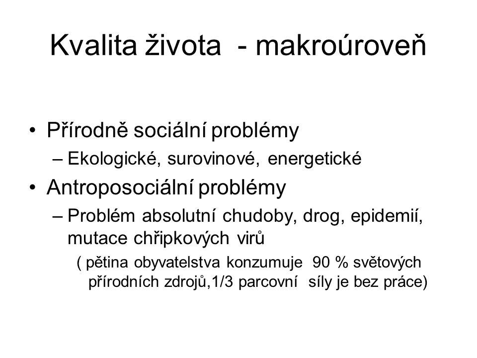 Kvalita života - makroúroveň Přírodně sociální problémy –Ekologické, surovinové, energetické Antroposociální problémy –Problém absolutní chudoby, drog