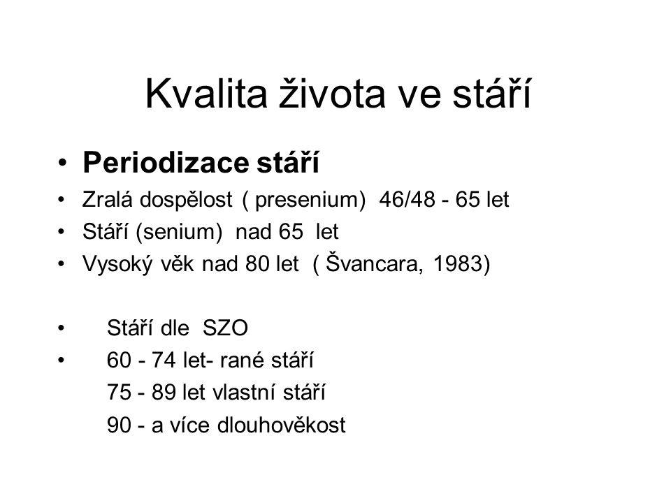 Kvalita života ve stáří Periodizace stáří Zralá dospělost ( presenium) 46/48 - 65 let Stáří (senium) nad 65 let Vysoký věk nad 80 let ( Švancara, 1983