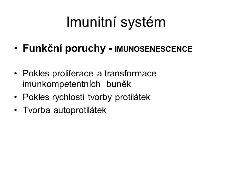 Imunitní systém Funkční poruchy - IMUNOSENESCENCE Pokles proliferace a transformace imunkompetentních buněk Pokles rychlosti tvorby protilátek Tvorba