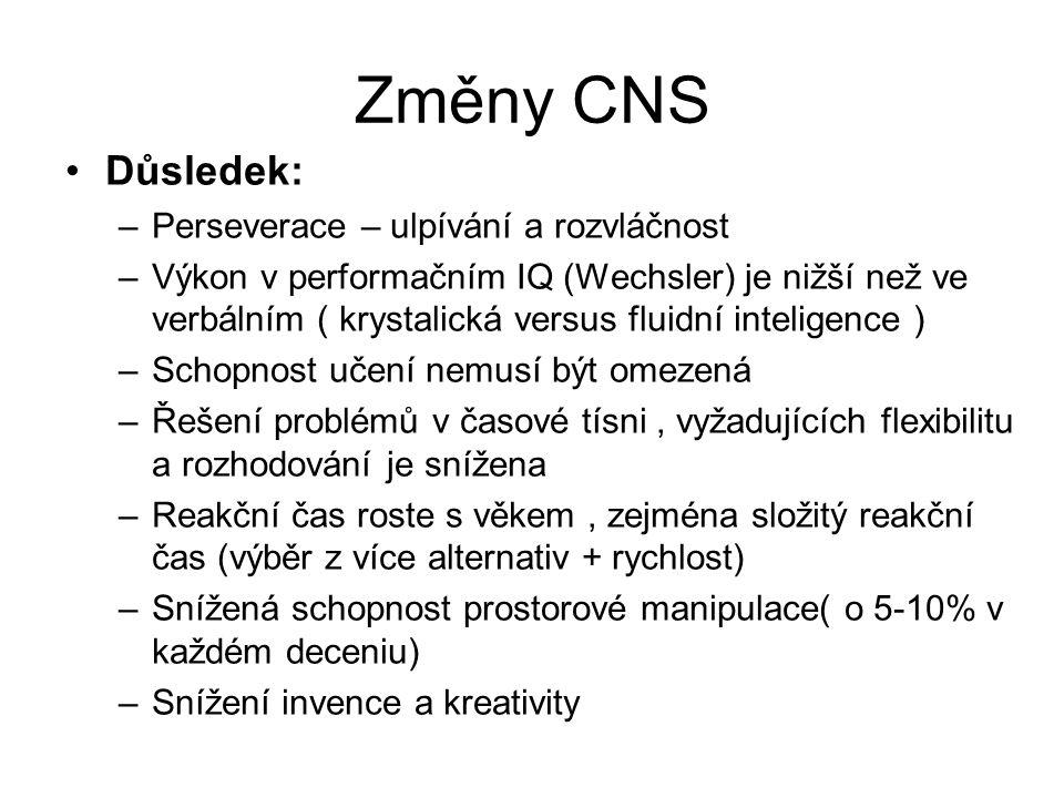 Změny CNS Důsledek: –Perseverace – ulpívání a rozvláčnost –Výkon v performačním IQ (Wechsler) je nižší než ve verbálním ( krystalická versus fluidní i