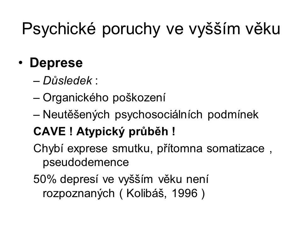Psychické poruchy ve vyšším věku Deprese –Důsledek : –Organického poškození –Neutěšených psychosociálních podmínek CAVE ! Atypický průběh ! Chybí expr