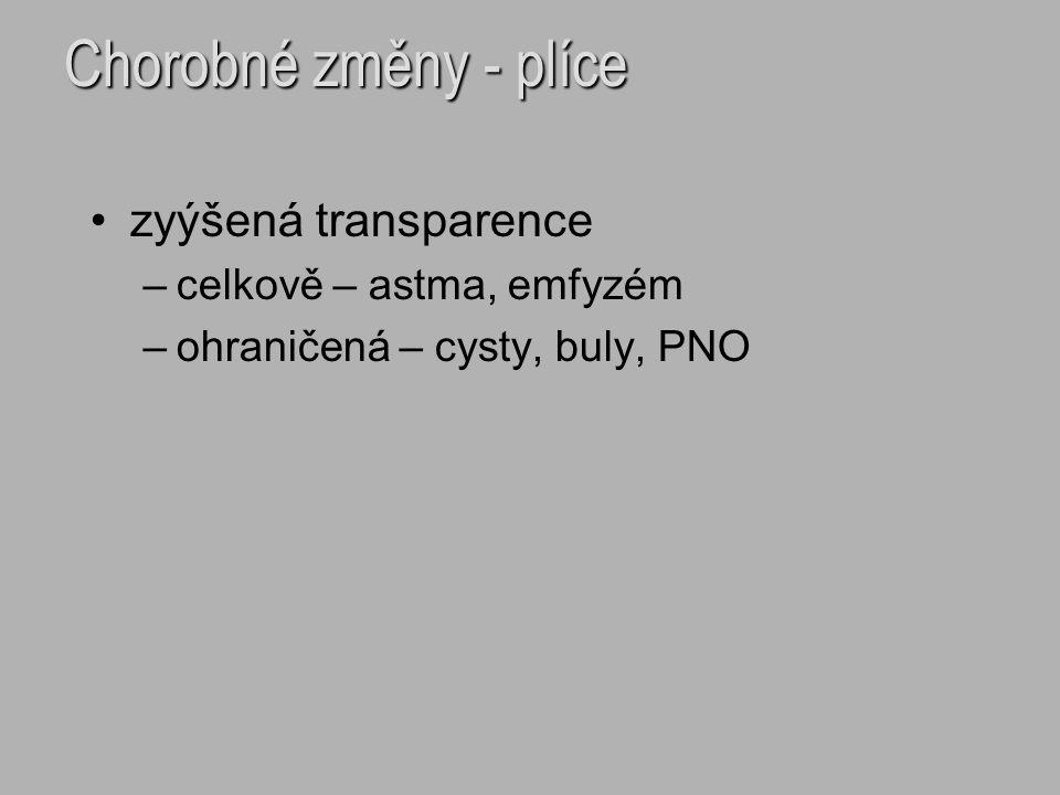 Chorobné změny - plíce zyýšená transparence –celkově – astma, emfyzém –ohraničená – cysty, buly, PNO