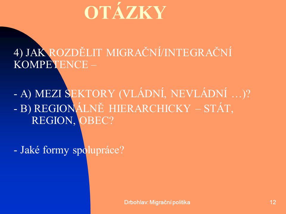 Drbohlav: Migrační politika12 OTÁZKY 4) JAK ROZDĚLIT MIGRAČNÍ/INTEGRAČNÍ KOMPETENCE – - A) MEZI SEKTORY (VLÁDNÍ, NEVLÁDNÍ …)? - B) REGIONÁLNĚ HIERARCH