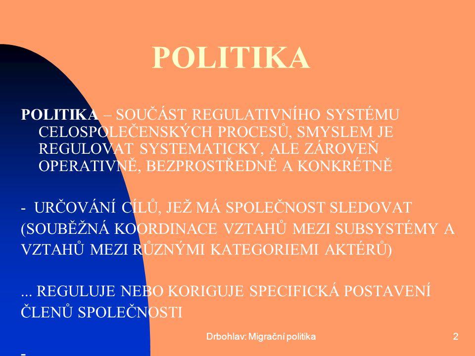Drbohlav: Migrační politika3 POLITIKA STANOVENÍ PŘIMĚŘENÝCH POSTUPŮ UMOŽŇUJÍCÍCH CÍLE DOSAHOVAT, MOBILIZACE PROSTŘEDKŮ K DOSAŽENÍ CÍLŮ POLITIKA – NEJENOM VYPRACOVÁNÍ OBECNÝCH KRITÉRIÍ, ALE ZAHRNUJE I ASPEKT ŘÍZENÍ ROLE ADMINISTRATIVNÍ ČINNOSTI, STÁTNÍ SPRÁVY, JURISDIKCE, APLIKOVÁNÍ PRÁVA ATD … MIGRAČNÍ POLITIKA – JEDNA Z DÍLČÍCH POLITIK STÁTU