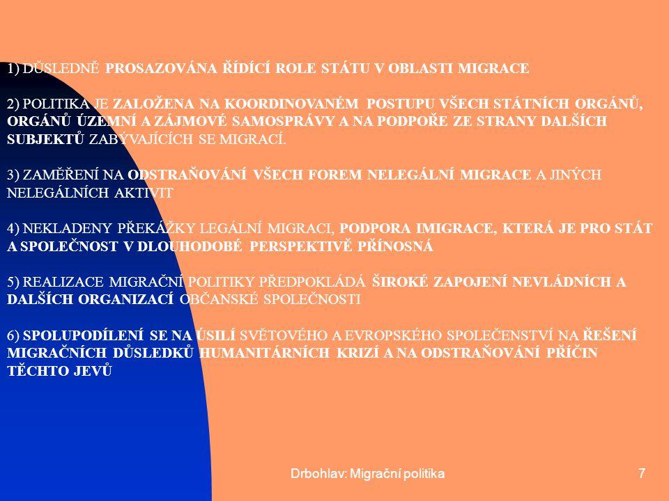 """Drbohlav: Migrační politika8 INTEGRACE CIZINCŮ: DVA ZÁSADNÍ DOKUMENTY: 1) """"ZÁSADY KONCEPCE INTEGRACE CIZINCŮ NA ÚZEMÍ ČR (1999) 2) """"KONCEPCE INTEGRACE CIZINCŮ NA ÚZEMÍ ČR (2000) PŘÍKLADY ÚSPĚŠNÝCH AKTIVIT: 1) STÁTNÍ INTEGRAČNÍ PROGRAM 2) PROJEKT """"AKTIVNÍ VÝBĚR KVALIFIKOVANÝCH ZAHRANIČNÍCH PRACOVNÍKŮ PODPORA INTEGRACE CIZINCŮ – PRINCIP ROVNÉHO PŘÍSTUPU A ROVNÉ PŘÍLEŽITOSTI ZEJMÉNA VE VZTAHU K ZAMĚSTNÁNÍ A PODNIKÁNÍ, BYDLENÍ, VZDĚLÁNÍ, ZDRAVOTNÍ A SOCIÁLNÍ PÉČI, KULTUŘE A NÁBOŽENSTVÍ"""
