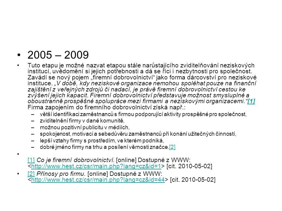 2005 – 2009 Tuto etapu je možné nazvat etapou stále narůstajícího zviditelňování neziskových institucí, uvědomění si jejich potřebnosti a dá se říci i nezbytnosti pro společnost.
