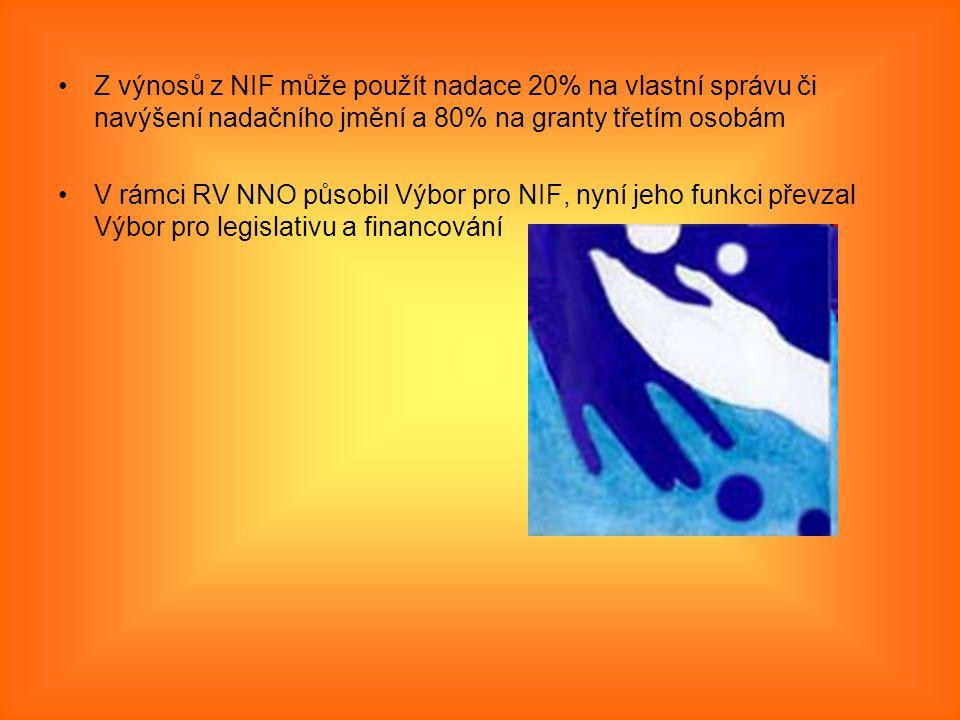 Z výnosů z NIF může použít nadace 20% na vlastní správu či navýšení nadačního jmění a 80% na granty třetím osobám V rámci RV NNO působil Výbor pro NIF, nyní jeho funkci převzal Výbor pro legislativu a financování