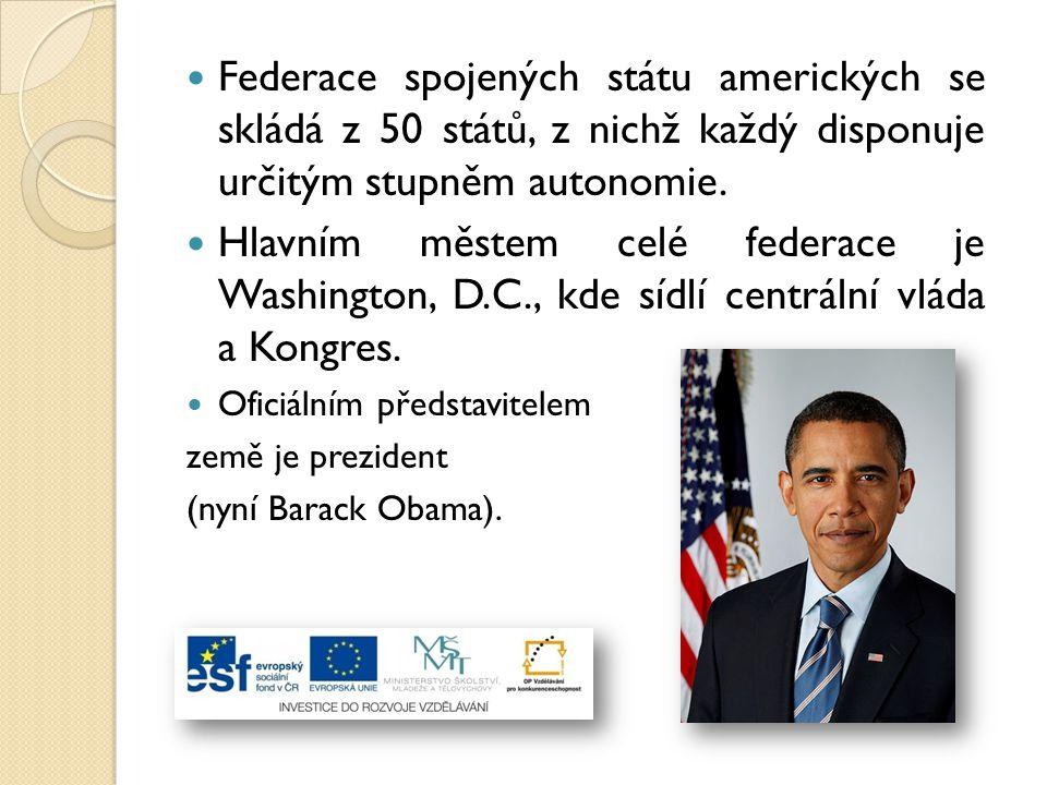 Federace spojených státu amerických se skládá z 50 států, z nichž každý disponuje určitým stupněm autonomie. Hlavním městem celé federace je Washingto