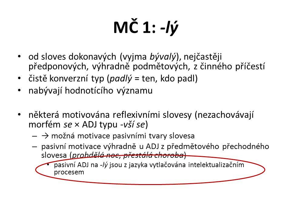 MČ 1: -ný pasivní děje, jejichž PAT je SUBST určované tímto ADJ od předmětových sloves přechodných – včetně reflexiv, reflexivní morfém odpadá mnohdy i od předmětových sloves nepřechodných, např.