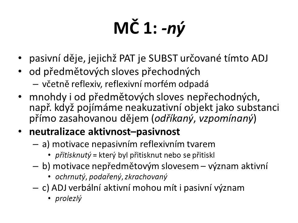 MČ 1: -ný pasivní děje, jejichž PAT je SUBST určované tímto ADJ od předmětových sloves přechodných – včetně reflexiv, reflexivní morfém odpadá mnohdy