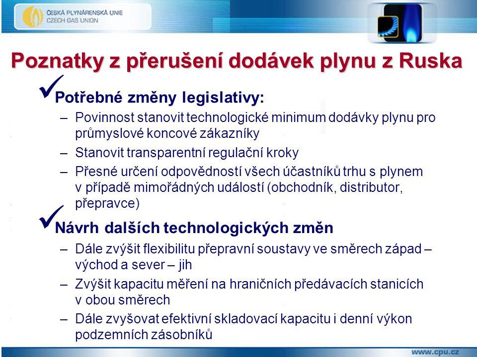 Poznatky z přerušení dodávek plynu z Ruska Potřebné změny legislativy: –Povinnost stanovit technologické minimum dodávky plynu pro průmyslové koncové zákazníky –Stanovit transparentní regulační kroky –Přesné určení odpovědností všech účastníků trhu s plynem v případě mimořádných událostí (obchodník, distributor, přepravce) Návrh dalších technologických změn –Dále zvýšit flexibilitu přepravní soustavy ve směrech západ – východ a sever – jih –Zvýšit kapacitu měření na hraničních předávacích stanicích v obou směrech –Dále zvyšovat efektivní skladovací kapacitu i denní výkon podzemních zásobníků