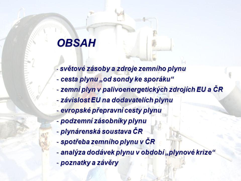 """OBSAH - světové zásoby a zdroje zemního plynu - cesta plynu """"od sondy ke sporáku"""" - zemní plyn v palivoenergetických zdrojích EU a ČR - závislost EU n"""