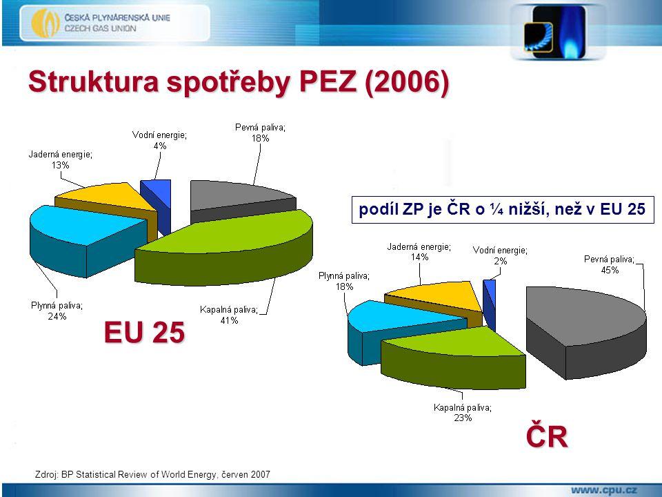 Struktura spotřeby PEZ (2006) Zdroj: BP Statistical Review of World Energy, červen 2007 EU 25 ČR podíl ZP je ČR o ¼ nižší, než v EU 25