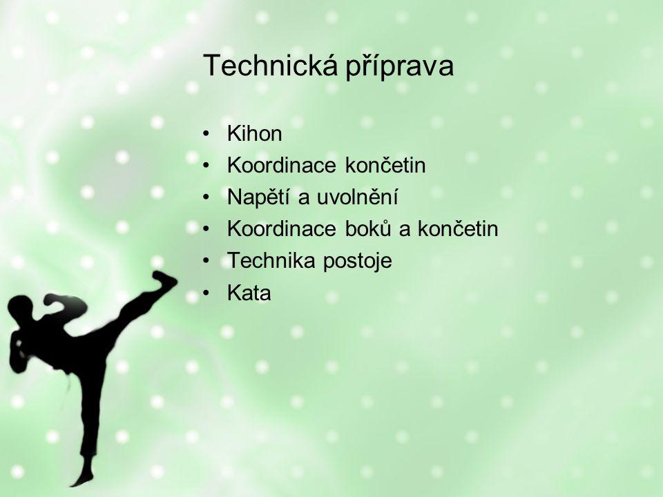 Technická příprava Kihon Koordinace končetin Napětí a uvolnění Koordinace boků a končetin Technika postoje Kata