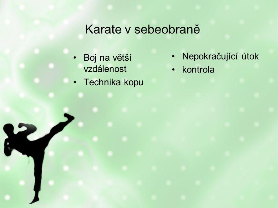 Karate v sebeobraně Boj na větší vzdálenost Technika kopu Nepokračující útok kontrola