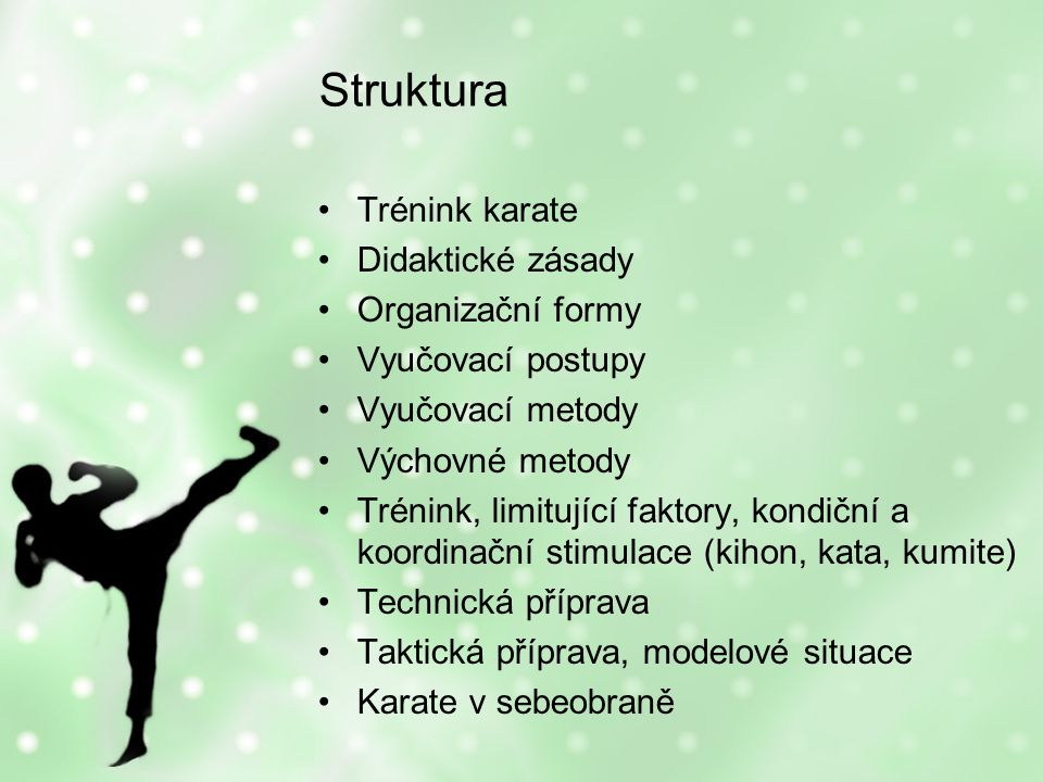 Trénink karate Komplexní působení –Fyzické (kondiční, technické…) –Psychické (zvládání stresových situací, taktika, motivace, aspirace…) –Výchova (etika, etiketa, kolektiv…)