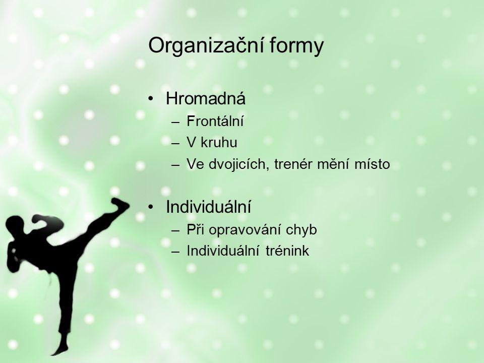 Organizační formy Hromadná –Frontální –V kruhu –Ve dvojicích, trenér mění místo Individuální –Při opravování chyb –Individuální trénink