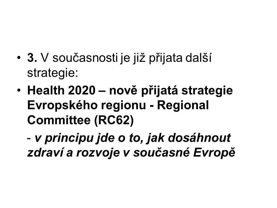 3. V současnosti je již přijata další strategie: Health 2020 – nově přijatá strategie Evropského regionu - Regional Committee (RC62) - v principu jde
