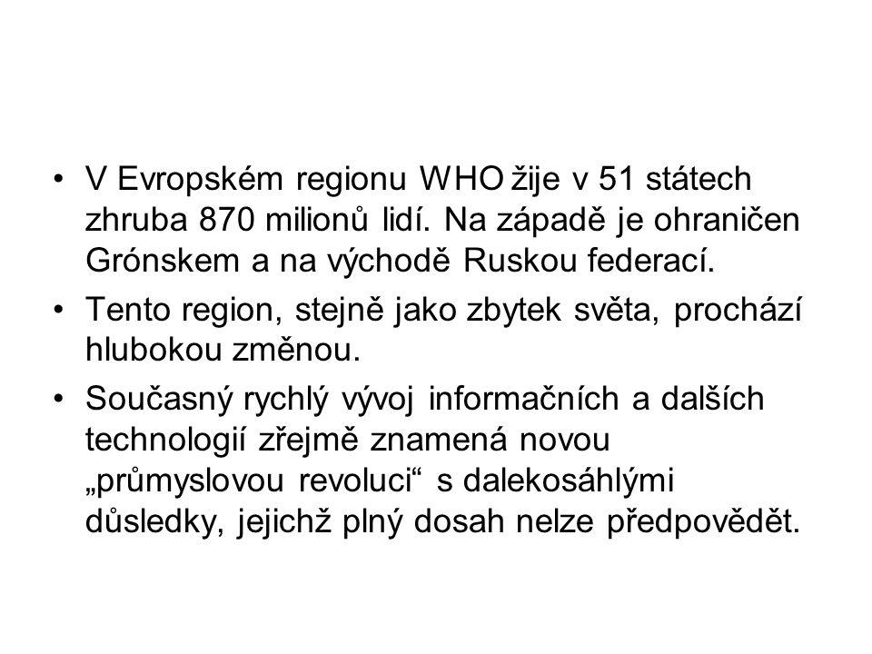 V Evropském regionu WHO žije v 51 státech zhruba 870 milionů lidí. Na západě je ohraničen Grónskem a na východě Ruskou federací. Tento region, stejně
