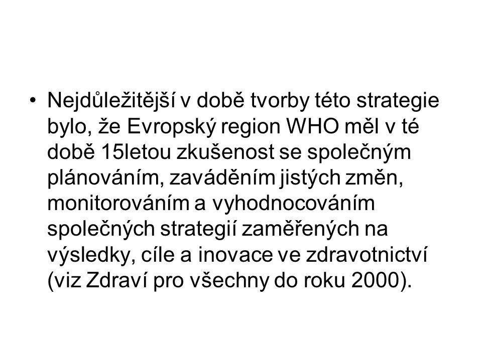 Nejdůležitější v době tvorby této strategie bylo, že Evropský region WHO měl v té době 15letou zkušenost se společným plánováním, zaváděním jistých změn, monitorováním a vyhodnocováním společných strategií zaměřených na výsledky, cíle a inovace ve zdravotnictví (viz Zdraví pro všechny do roku 2000).