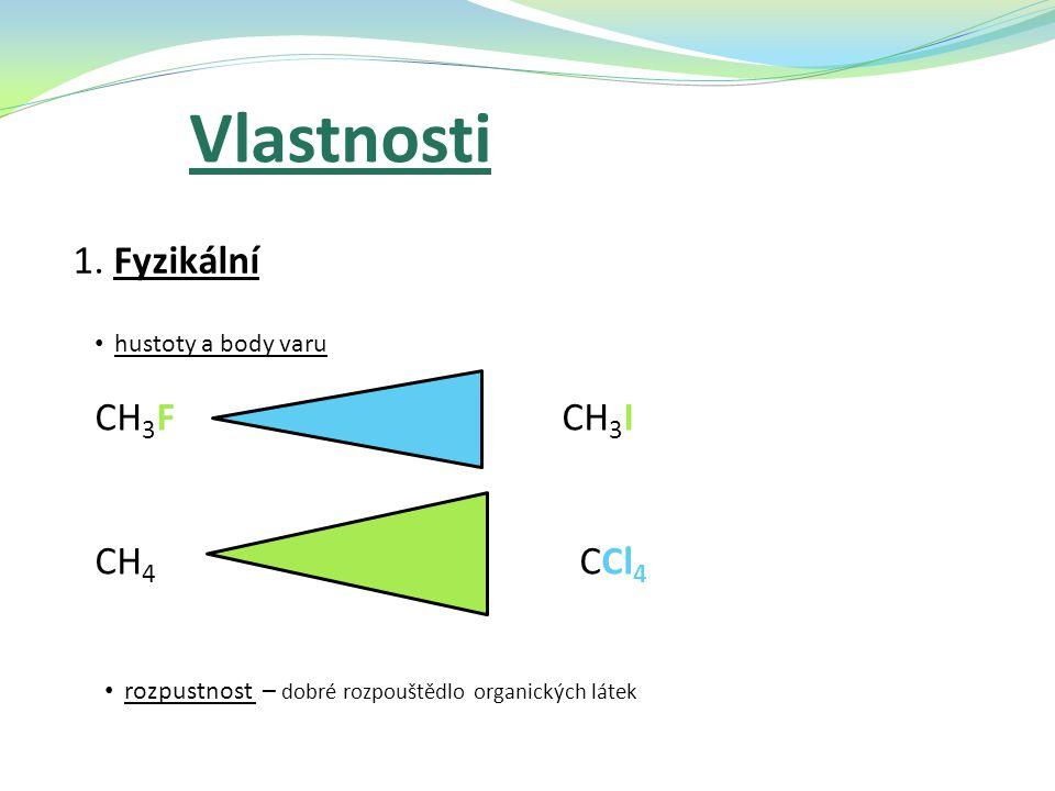 Vlastnosti 1. Fyzikální hustoty a body varu CH 3 F CH 3 I CH 4 CCl 4 rozpustnost – dobré rozpouštědlo organických látek