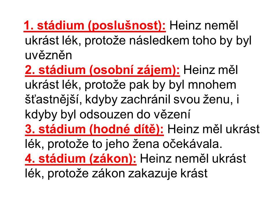 1. stádium (poslušnost): Heinz neměl ukrást lék, protože následkem toho by byl uvězněn 2. stádium (osobní zájem): Heinz měl ukrást lék, protože pak by