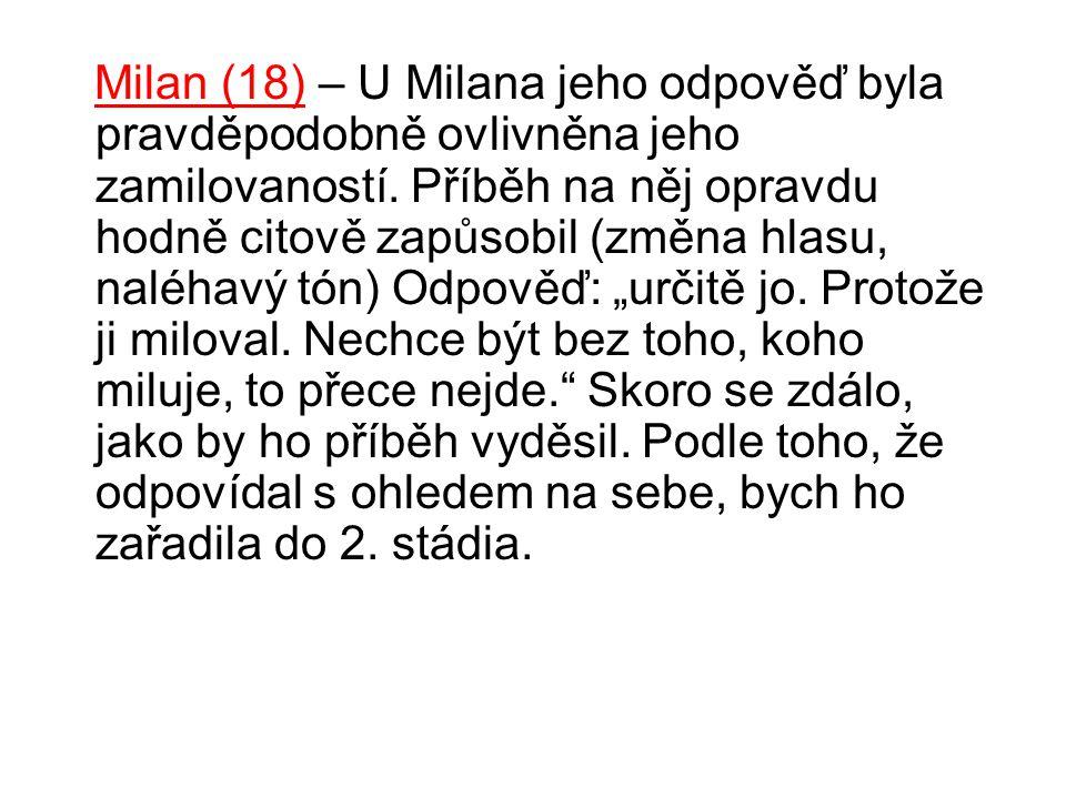 Milan (18) – U Milana jeho odpověď byla pravděpodobně ovlivněna jeho zamilovaností. Příběh na něj opravdu hodně citově zapůsobil (změna hlasu, naléhav