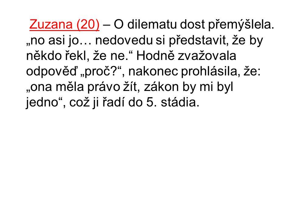 """Zuzana (20) – O dilematu dost přemýšlela. """"no asi jo… nedovedu si představit, že by někdo řekl, že ne."""" Hodně zvažovala odpověď """"proč?"""", nakonec prohl"""