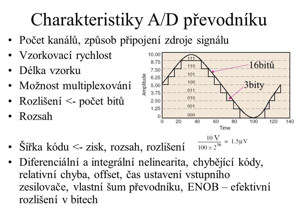 Charakteristiky A/D převodníku Počet kanálů, způsob připojení zdroje signálu Vzorkovací rychlost Délka vzorku Možnost multiplexování Rozlišení <- poče