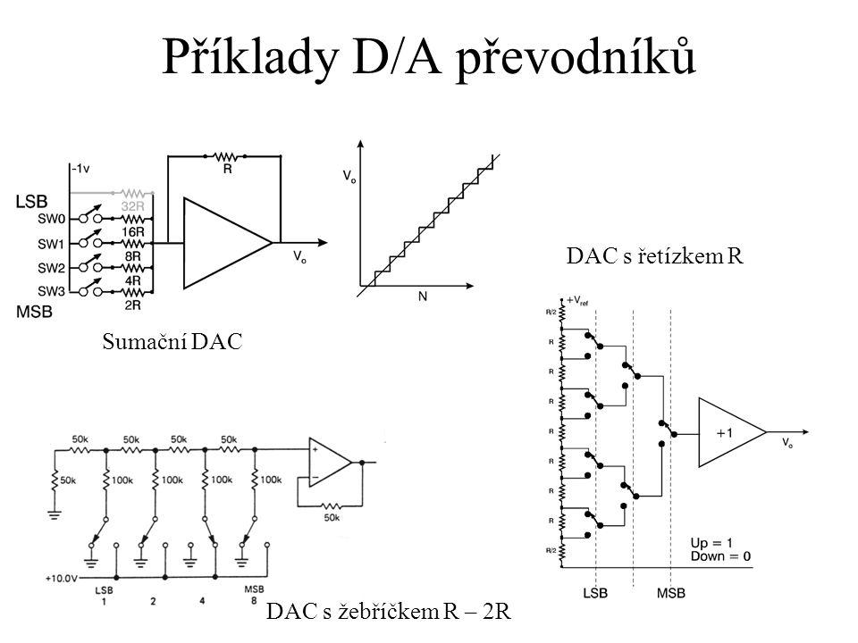 Příklady D/A převodníků Sumační DAC DAC s žebříčkem R – 2R DAC s řetízkem R