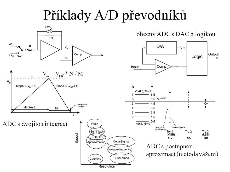 Příklady A/D převodníků ADC s dvojitou integrací ADC s postupnou aproximací (metoda vážení) obecný ADC s DAC a logikou V in = V ref * N / M Pipeline