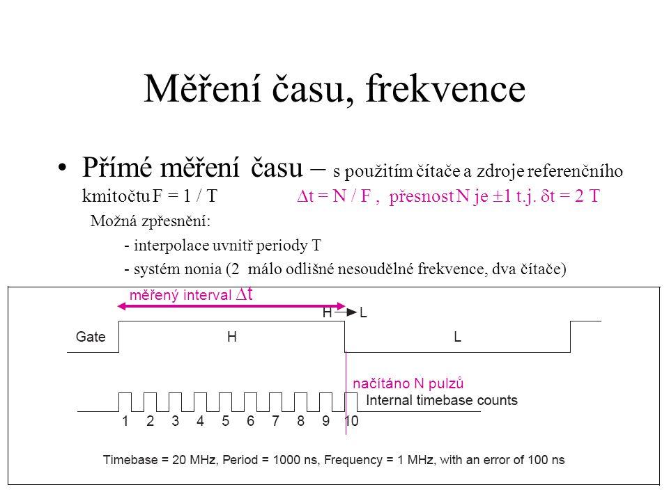 Měření času, frekvence Přímé měření času – s použitím čítače a zdroje referenčního kmitočtu F = 1 / T  t = N / F, přesnost N je  1 t.j.  t = 2 T Mo