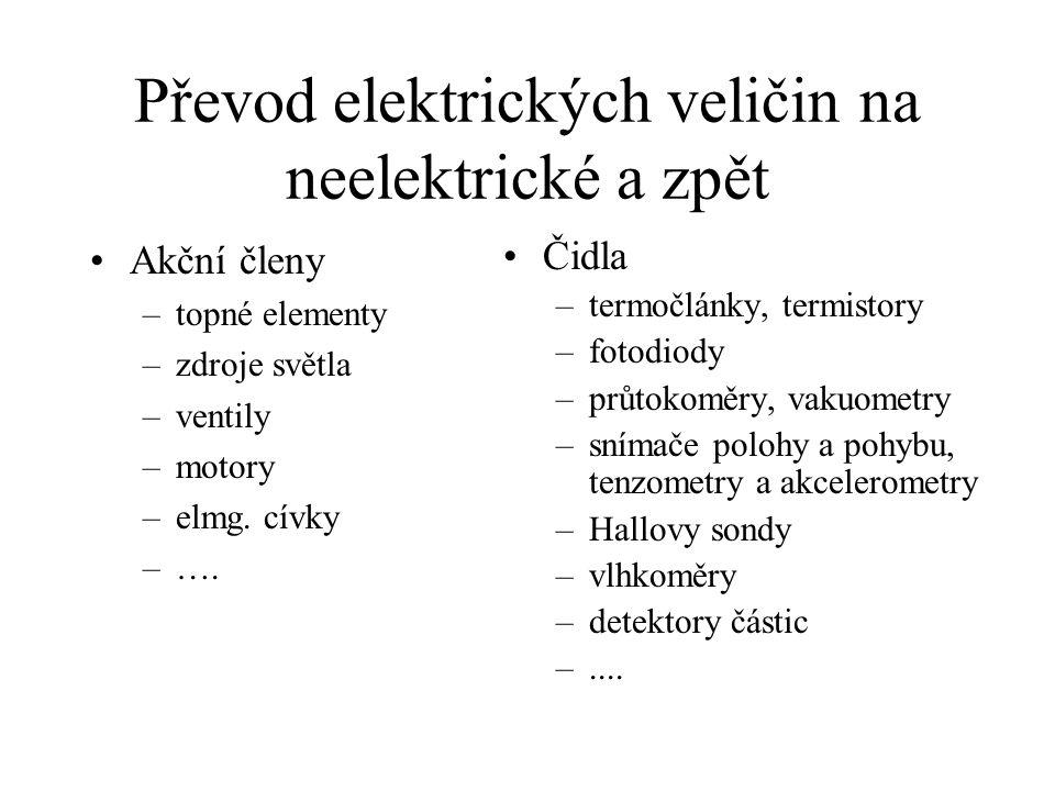 Převod elektrických veličin na neelektrické a zpět Akční členy –topné elementy –zdroje světla –ventily –motory –elmg. cívky –…. Čidla –termočlánky, te