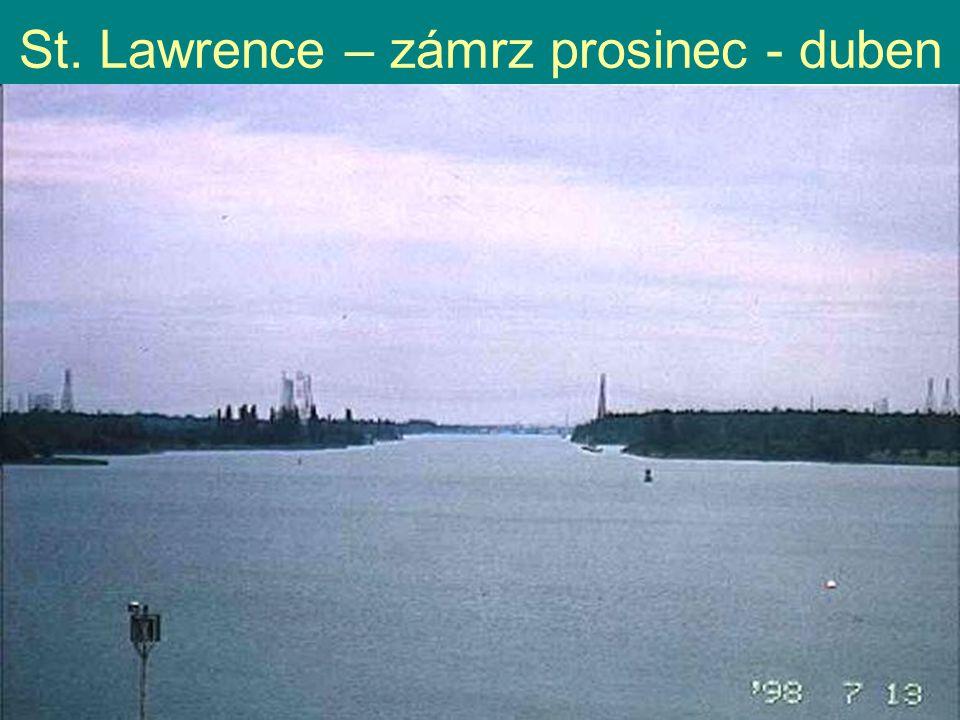 St. Lawrence – zámrz prosinec - duben